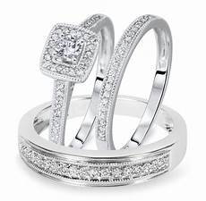 1 1 2 carat t w round cut diamond matching trio wedding ring set 10k white gold bt572w10k jpg