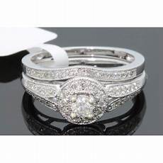 wholesale diamonds 10k white gold 48 ct real diamond engagement ring wedding band ring