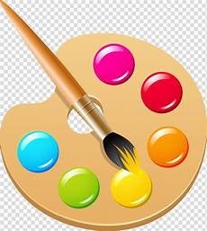 paint palette and paint brush art pigment color ink brush paint brush transparent background