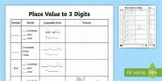 decimal place value worksheets year 3 7687 place value to 3 digits activity made