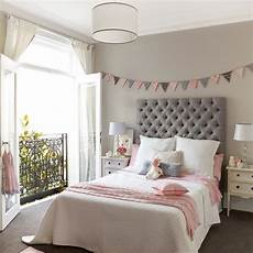 Pink And Gray Bedroom With Banner Bed