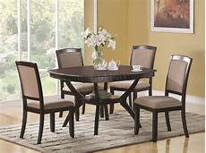 rich cappuccino finish modern rounded square top 5 pc dining