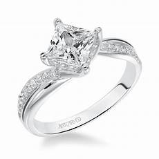 14kt white gold and square diamond engagement ring by
