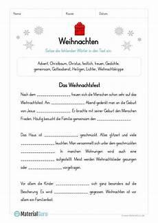 arbeitsblatt l 252 ckentext zu weihnachten schule