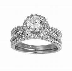 2 50 ct 14k white gold round halo engagement promise ring