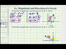 ex find the direction and magnitude of a vector in component form youtube