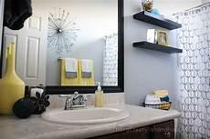 grey yellow bathroom fit crafty stylish and happy guest bathroom makeover