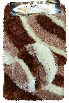 Bathroom Rugs Brown by Beige Brown Plush Bathroom Mat 3 Pc Set 100 Polyester
