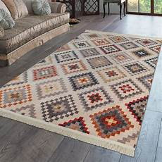 kurzflor fransen teppich wohnzimmer boho design