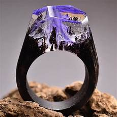 Ethereal Worlds Encapsulated In Wood And Resin Rings