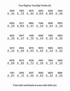 4 digit whole number by 2 digit tenths vertical 36 per page a decimals worksheet