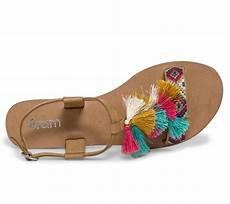Sandale Femme Pompon Sandale Cuir Camel 224 Pompons