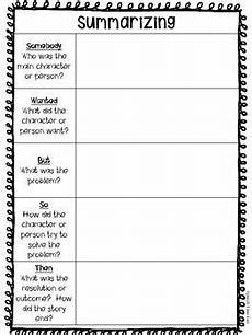 summarizing graphic organizer somebody wanted but so then reading comprehension strategies