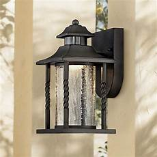 westray 11 1 2 quot h black motion sensor led outdoor wall light 7k617 ls plus