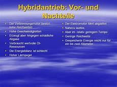 Hybridantrieb Vor Und Nachteile - funktion vor nachteile und hybridarten ppt