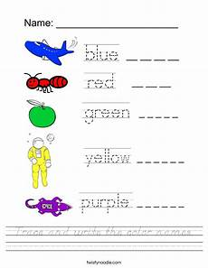 colors spelling printable 12809 trace and write the color names worksheet d nealian twisty noodle