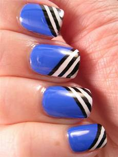 naily perfect black and white stripes over blue my mind