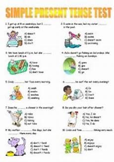 simple present tense test esl worksheet by persie