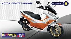 Modifikasi Honda Pcx 2018 by Modif Honda Pcx 2018 Warna White Orange