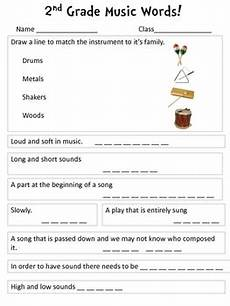 grade 2 music printable worksheets music words review worksheet 2nd grade by musically