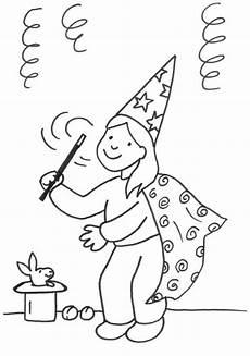 Zauberer Ausmalbilder Kindergarten Kostenlose Malvorlage Karneval Fasching Fastnacht