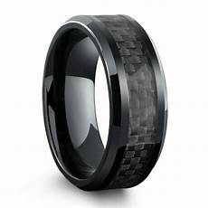 all black titanium ring mens wedding band with carbon fiber inlay northernroyal