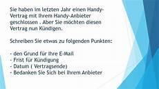 Handyvertrag Mit Auto - handyvertrag k 252 ndigen brief schreiben zur pr 252 fung b1