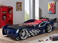 bett auto autobett in 90x200 cm mit spoiler und felgen hero blau