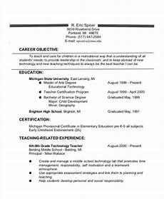 resume objective lines for teachers teacher resume exles 26 free word pdf documents