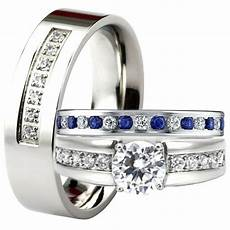 his and hers blue sapphire cz engagement ring wedding band set men s women s new ebay