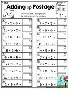 1st grade math worksheet adding 3 numbers adding up postage ways to help grade students