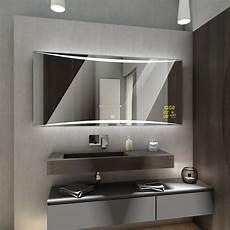Badspiegel Mit Led Beleuchtung Uhr Wetterstation