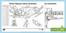 Ks1 Winter Olympics Colour By Number Colouring Pages