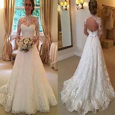 princess aline sleeved open back wedding dresses almette 2017 high neck open back lace princess simple modest