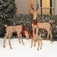 Lit Outdoor Decorations by Outdoor Lighted Pre Lit 3 Pc Deer Family Display