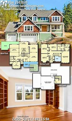 front sloping lot house plans plan 23438jd elevated craftsman house plan for a front