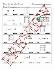 identify linear and nonlinear functions worksheet tpt