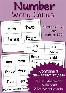 free printable number word cards mamas learning corner