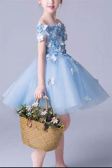 robe demoiselle d honneur fille bleu fleuries ref
