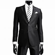 costume noir homme costume homme noir brillant deux boutons costumes de