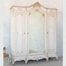louis xv style white and gold gilt antique armoire