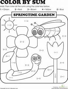 color by sum springtime garden worksheet education
