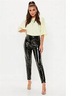 black vinyl trousers missguided