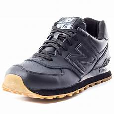new balance nb 574 leather mens trainers in black gum