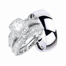 laraso co his and hers wedding ring sets silver titanium matching wedding bands for him her