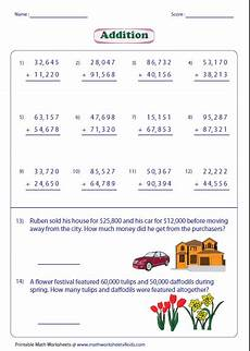 maths addition and subtraction worksheets for grade 5 adding large numbers worksheets