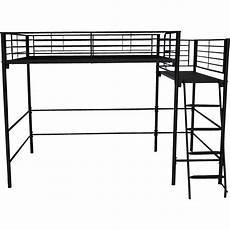 lit mezzanine 2 places en acier noir avec plateforme