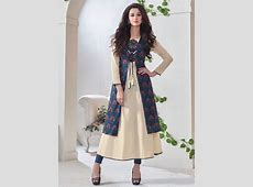 Cbazaar Cream And Blue Jacket Style Kurti   Blue jacket