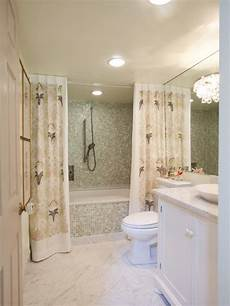 bathroom ideas with shower curtains small bathroom with mosaic tile and lavender print shower curtain hgtv