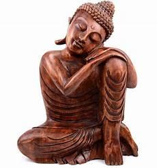Grande Statue Bouddha Zen Bois Massif Sculpt 233 H40cm Assis